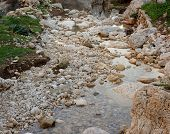 Pebble scree in a small mountain creek