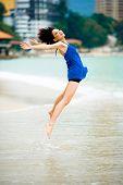 Beautiful Asian Woman At The Beach
