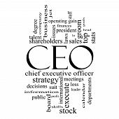 Ceo Word Cloud Concept In Black And White