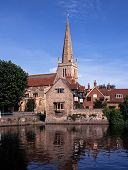 Church along River Thames, Abingdon, England.