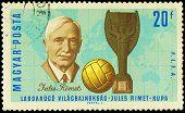Hungary - Circa 1966: A Stamp Printed In Hungary Shows Jules Rimet , Circa 1966