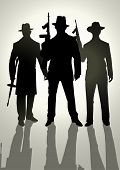 stock photo of gang  - Silhouette illustration of gangsters holding machine guns - JPG