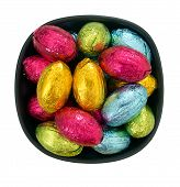 Foil Wrapped Chocolate Easter Eggs In Bowl, Isolated Over White Background