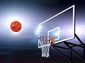 Basket ball heading the hoop with spotlights