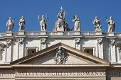Statues on the top of Saint Peter Basilica facade