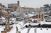 The Roman Forum under snow