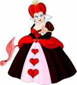 Angry Queen of Hearts pointing.