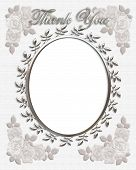 image of thank you card  - 3d illustrated oval frame with pretty silver accents for wedding thank you card on textured background - JPG