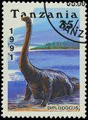 Tanzania - Circa 1991: A Stamp Printed In Tanzania Shows Diplodocus, Circa 1991