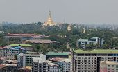 Bird's eye view of shwedagon paya (pagoda) stupa. Yangon. Myanmar.