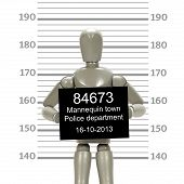 Grey mannequin posing in a mugshot