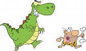 Angry Dinosaur Chasing A Caveman