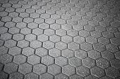 stock photo of cobblestone  - Background texture of gray cellular cobblestone road - JPG