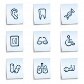 Medicine web icons set 2, blue notes