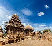 Five Rathas - ancient Hindu monolithic Indian rock-cut architecture. Mahabalipuram, Tamil Nadu, South India