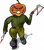 Pumpkin murderer escapes with a knife and a hatchet