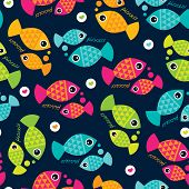 Seamless cute pisces zodiac sign illustration background pattern in vector