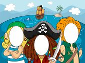 foto of pirate sword  - Illustration of Pirates with Blanked Out Faces for Taking Pictures at Photo Booths - JPG