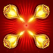 Illuminated golden oil lit lamps on red background for occasion of Indian festival of lights, Shubh