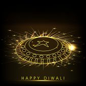 Indian festival of lights, Happy Diwali background with beautiful firework on dark background.