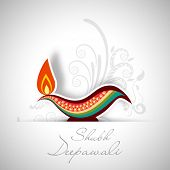 Indian festival of lights, Shubh Deepawali (Happy Deepawali) concept with illuminated colorful oil l