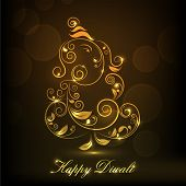 Shiny illustration of Hindu mythology Lord Ganesha on occasion of Indian festival of lights Happy Diwali.