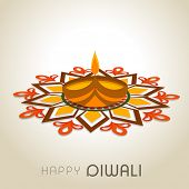 Beautiful Happy Diwali greeting card with illuminated traditional oil lit lamp on colorful floral decorated background.