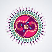 Indian festival of lights, Happy Diwali concept with colorful floral design on grey background.
