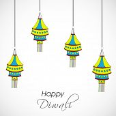 Indian festival of lights, Happy Diwali concept with hanging colorful lamps on grey background.