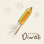 Indian festival of lights, Shubh Diwali (Happy Diwali) greeting card with colorful firecrackers on fireworks background.