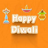 Indian festival Happy Diwali sticker, tags or labels on bright yellow background.