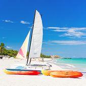Sailing boat (catamaran) and kayaks at Varadero beach in Cuba