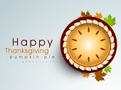 Happy Thanksgiving background with pumpkin pie and maple leaves, can be use as flyer, banner or post