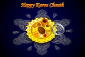 image of pooja  - vector illustration of Indian Puja Thali for Karva Chauth - JPG
