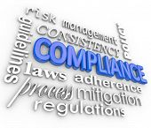 The word Compliance in blue 3d letters surrounded by related terms such as risk management, mitigati