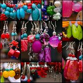 Set Collage Colorful Stone Earrings Pendants