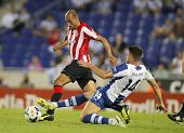 BARCELONA - SEP, 23: Mikel Rico(L) of Athletic Bilbao vies with David Lopez(R) of RCD Espanyol durin