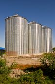 stock photo of silo  - Grain silos construction site in finishing phase - JPG