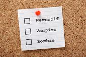Werewolf, Vampire or Zombie