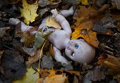 Abandoned doll lies in the autumn leaves
