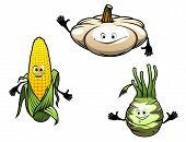Pumpkin, Corn And Turnip Cartoon Vegetables