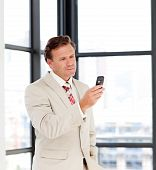 Portrait Of A Businessman Sending A Text On A Mobile-phone