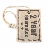 Two Year Guarantee Tag Over White