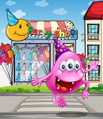 Illustration of a happy beanie monster jumping in front of the party shop