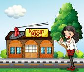 Illustration of a girl in front of the Korean BBQ store