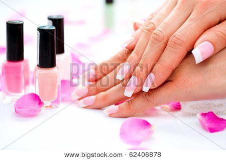 Manicure and Hands Spa. Beautiful Woman hands closeup. Manicured nails and Soft skin. Beauty hands w poster