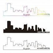 Austin Skyline Linear Style With Rainbow