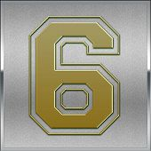 Gold On Silver Number 6 Position, Place Sign
