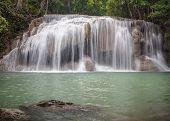 stock photo of three tier  - Erawan Waterfall level 3 Kanchanaburi Thailand for any use - JPG