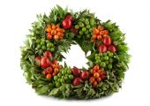 Traditional Fresh Holi Wreath, Isolated On White